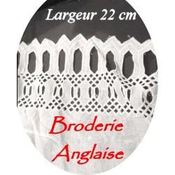 Broderie Anglaise Coton Au Mètre En 22 cm Blanche A Coudre.