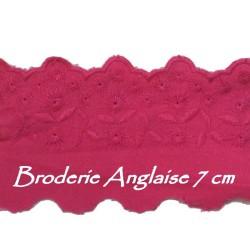 Broderie Anglaise Coton En 7 Cm Au Mètre Fushia.