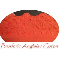 Broderie Anglaise Coton Au Mètre En 6 Cm Couleur Corail