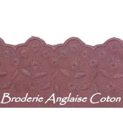 Broderie Anglaise Coton En 7 Cm A Coudre Couleur Bordeaux Nid De Vin.