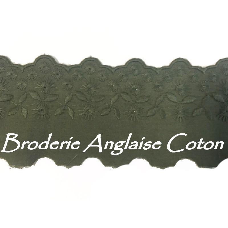 Broderie Anglaise Coton au Mètre en 6 cm Kaki A Coudre.