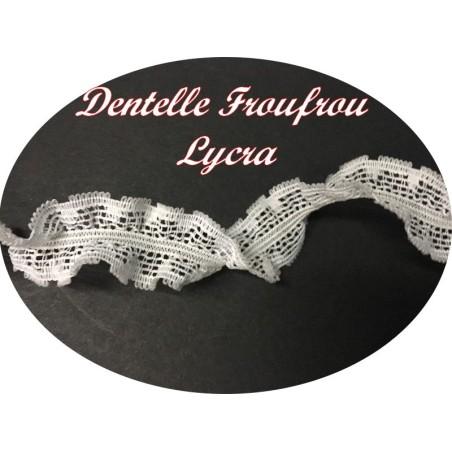 Galon Ruban Lycra FrouFrou En Dentelle Blanc En 2,5 Cm A Coudre Pour Lingerie Et Customisations.