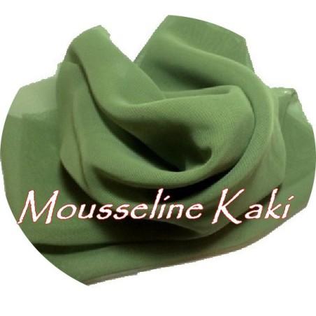 Tissu Mousseline Polyester au Mètre Kaki A Coudre.