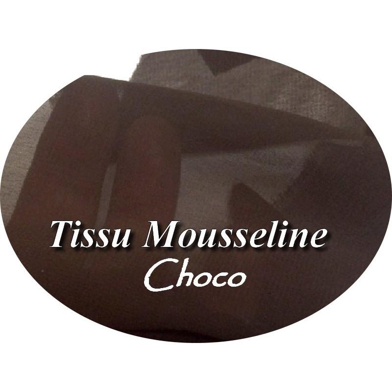 Tissu Mousseline Polyester En Couleur Marron Choco A Coudre.