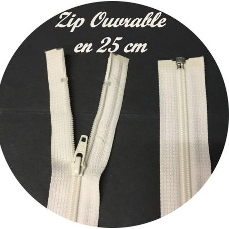 Zip Fermeture Eclair A Glissière En Maille 4 Spirale A Coudre en 25 cm Ecru Ouvrable