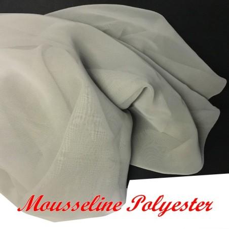 Tissu Mousseline En Polyesther GRis Perle Pour La Couture.