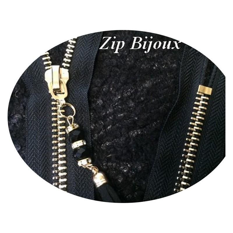 Fermetures Eclair Zip en Bijoux Noir en Maille 5 doré non-ouvrable