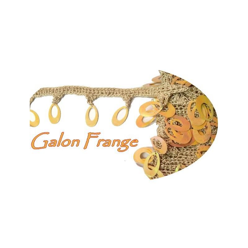 Galon Ruban au mètre en Frange Sequins Irisé Beige 4 cm