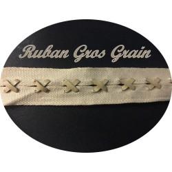Ruban Gros Grain Au mètre Beige Avec Attaches Ficelle Simili Cuir A Coudre Pour Loisirs Créatifs Et Décorations.