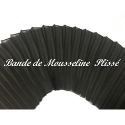 Tissu Mousseline Au mètre Plissé En Polyester NOir En Bande De 12 Cm A Coudre, Pour Décoration et Customisation.