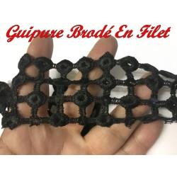Galon Dentelle Guipure Brodé Au Mètre m Noir Avec Paillette Sequins Noir En 5 C