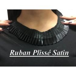 Ruban de Satin Plissé Noir En 5 Cm De Largeur A Coudre, Pour Chemisers, Jupes, Et Customisations.