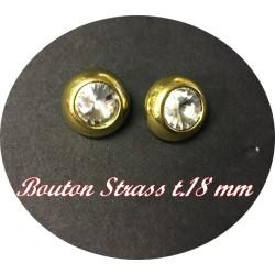 Bouton Strass Cristal A coudre en Taille 18 mm Cerlé Doré Or Pour Décorations Et Customisations.