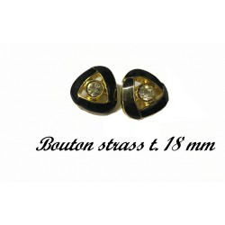 Bouton Strass Couleur Noir Verni A coudre en Taille 18 mm Cerlé Doré Or Pour Décorations Et Customisations.