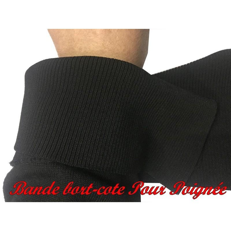Bande De Bord-Cote En Tissu Jersey Noir Elastique Pour Poignée Manche et Bas de Blousons