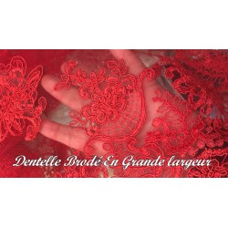 Dentelle Au Mètre Rouge Brodé Couture Pour Fabrication De Lingerie de luxe Et Robes De Cérémonies
