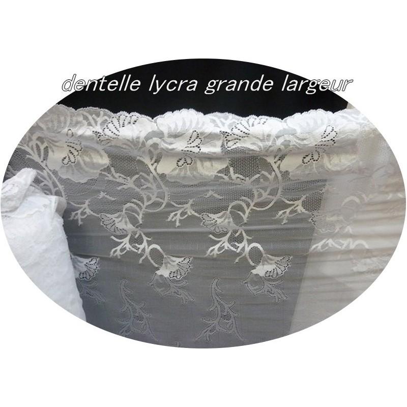 Tissu Dentelle Lycra Grande Largeur blanc