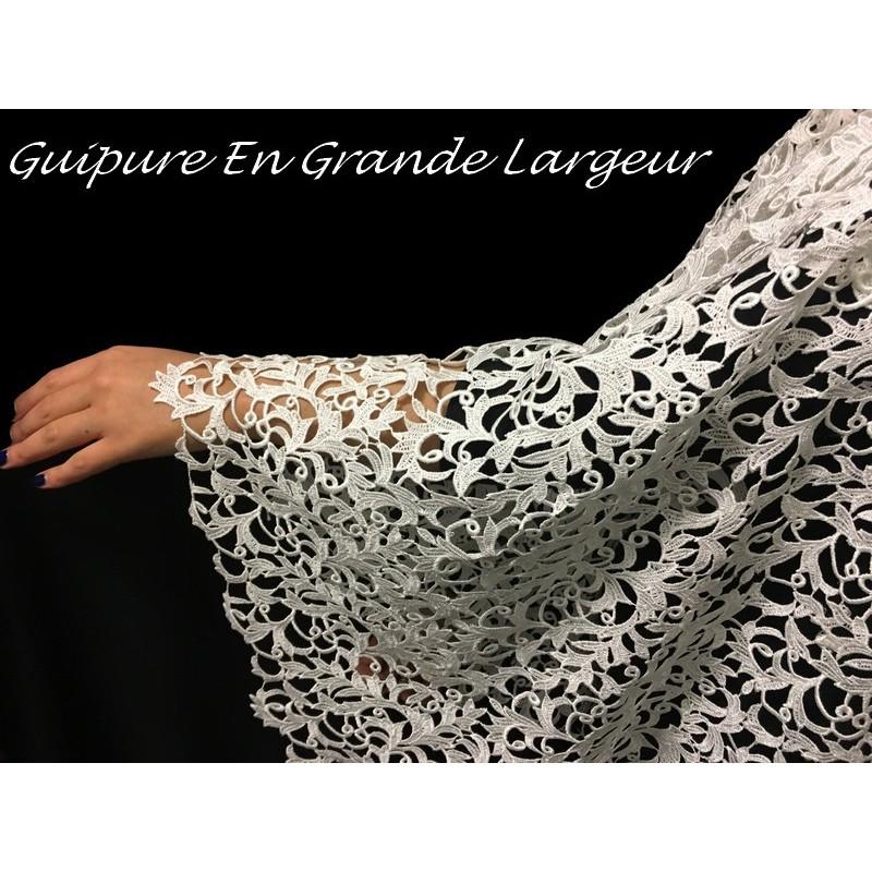 Dentelle Guipure Au Mètre Ivoire En Grande Largeur, Pour Robes De Mariage Et De Cerémonies.