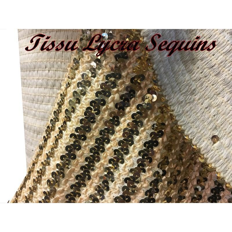 Tissu Lycra Paillette Sequins Au Mètre doré-or Pour bustiers, Confection Et Vetements De Danse
