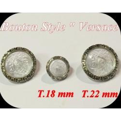 Bouton Pour La Couture style Versace Transparent Cerclé Argent En Taille 18 mm Et 28 mm pour Customisations.