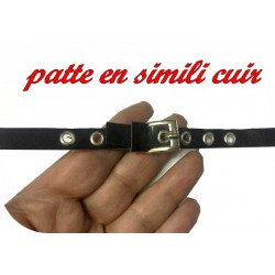 Patte Kilt en Simili Cuir avec 2 Boucles Argent à Coudre en 20 Cm Noir.