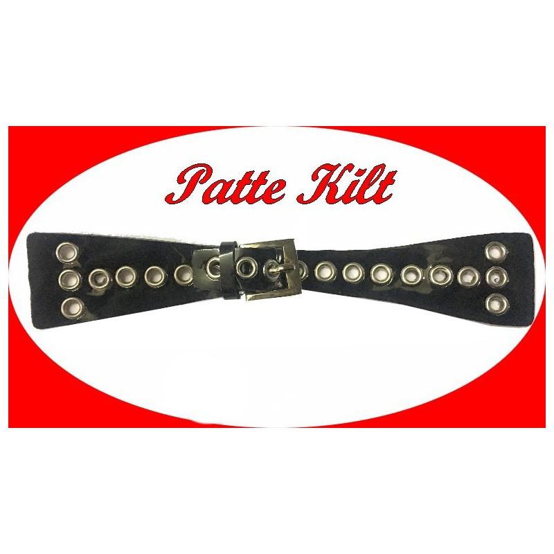 Patte Kilt en Simili Cuir Avec Boucle Et oeuillets Argent à Coudre en 20 Cm Noir.