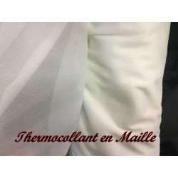 Thermocollant au Mètre, En Maille jersey Collante Blanche en 1 Mètre 60 de Large