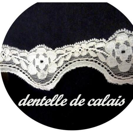 Dentelle Lycra  de Calais au Mètre en 3.5 cm Ecru A Coudre.