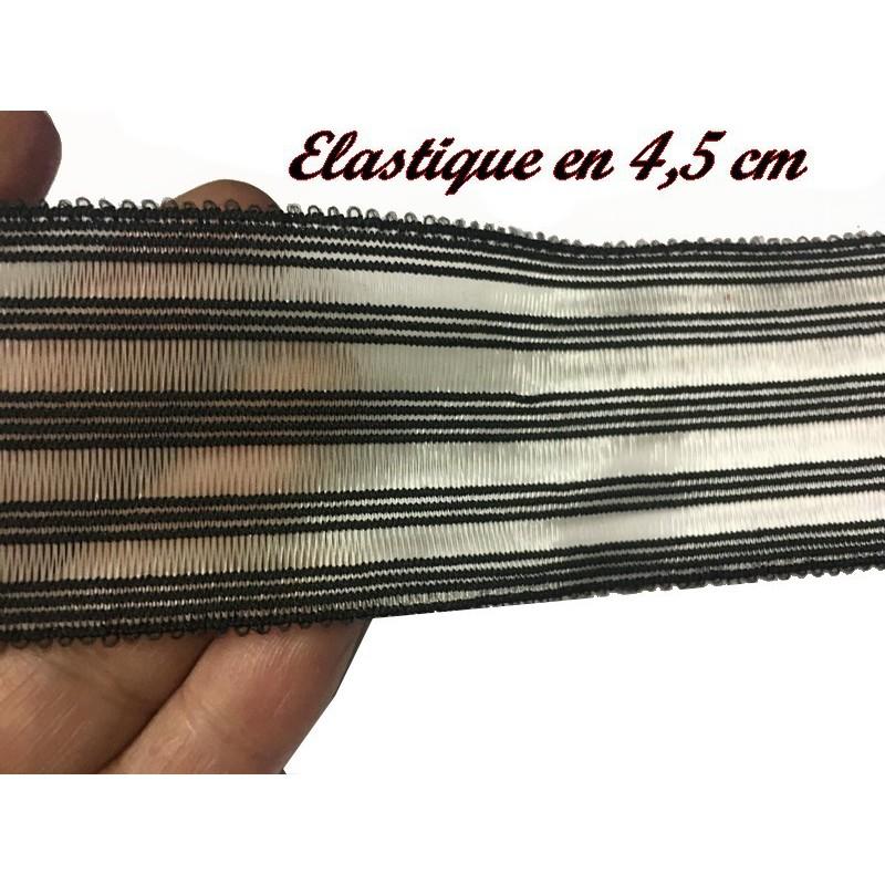Elastique Plat A Coudre En Rayure Noir Sur Fond Transparent Et Noir Au Mètre en 4,5 Cm Pour La Couture Et La Customisations.
