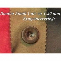 Bouton Cuir Simili 20 mm En 4 Trous Marron-Choco