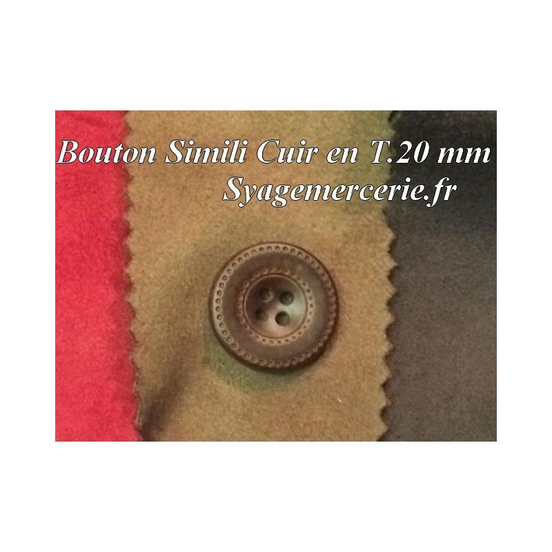 Bouton Cuir Simili 20 mm En 4 Trous Marron-Choco
