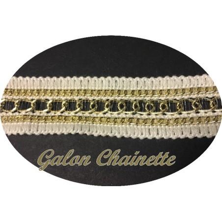 """Galon Au Mètre Style """" Chanel"""" Ecru Au Mètre Orné De 2 Chainette Doré"""