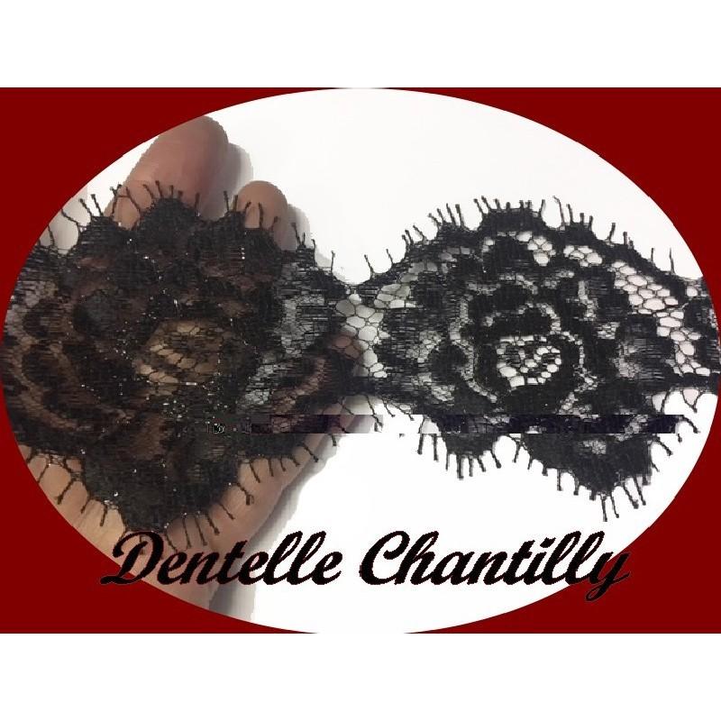 Dentelle Chantilly Au Mètre En Fine Haute Couture Largeur de 8 cm Noir