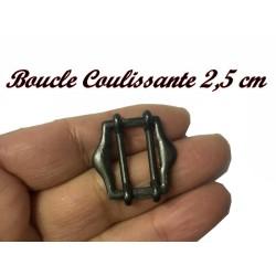 Boucle Coulissante En 2.5 cm De Largeur En Métal Noir, A coudre.