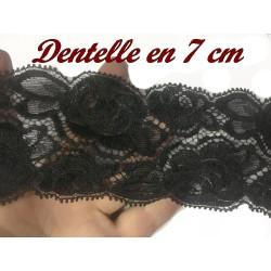 Dentelle Brodé Elastique En 7 Cm Noir De Calais A Coudre Pour Lingerie Et Loisirs Créatifs