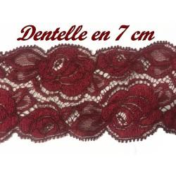 Dentelle Brodé Elastique En 7 Cm De Calais Couleur Lie de Vin A Coudre Pour Lingerie Et Loisirs Créatifs