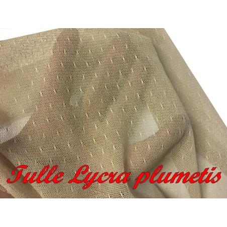 Tissu Tulle Résille plumetis Elastique Au Mètre en Couleur Chair nude Pour Justaucorps.