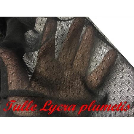 Tissu Tulle Résille pluemetis Elastique Au Mètre Couleur Noir Pour Justaucorps.