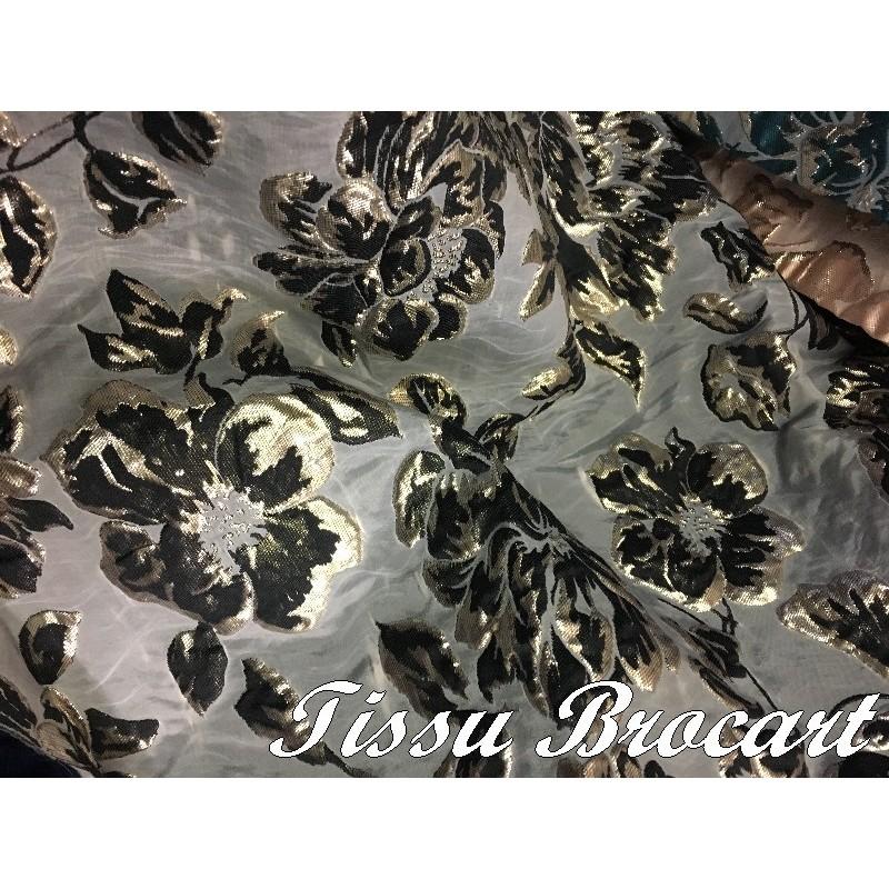 Tissu Brocart au Mètre De Luxe En Motifs Fleurs Imprimés Et En Reliefs Pour Obes, Tailleurs Et Caftans
