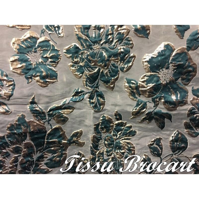 Tissu Brocart au Mètre De Luxe En Motifs Fleurs Imprimés Et En Reliefs Pour Robes, Tailleurs Et Caftans