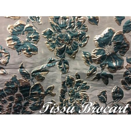 Tissu Brocart au Mètre De Luxe En Motifs Fleurs Vert Emeraude et Doré Or Imprimés Et En Reliefs Pour Robes, Tailleurs Et Caftans