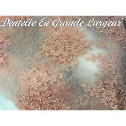 Dentelle Au Mètre En Broderie Coloris Vieux Rose Couture Pour Lingerie de luxe Et Robes De Soirée.