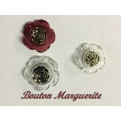 Bouton Marguerite Pour La Couture Transparent intérieur Fleur Argent En Taille 22 mm Et 25 mm Pour Customisations.