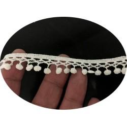 Dentelle Guipure En Picot En 15 mm En Forme De Petites Gouttes Au Mètre Blanc.