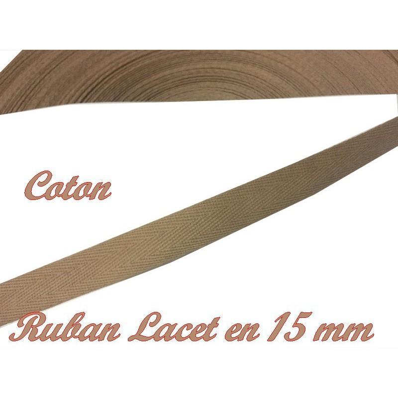 Ruban Lacet Sergé En 15 mm Kaki Clair En coton A Coudre Pour Loisirs Créatifs Et Décorations.