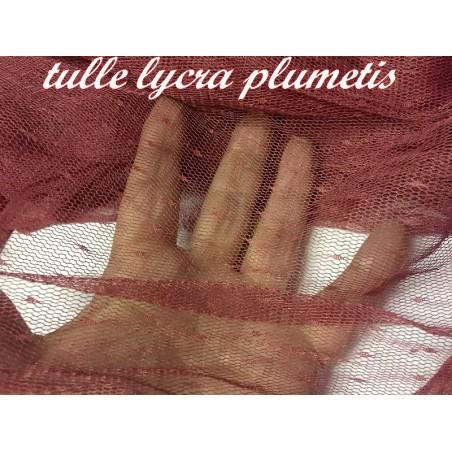 Tissu Tulle Résille Plumetis Elastique Au Mètre Couleur bordeaux Pour Justaucorps.
