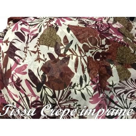 Tissu Crêpe Georgette Imprimé Fleurs Bordeaux Et Marron A Coudre, pour Décoration et Customisation.