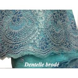 Dentelle Brodé Au Mètre En Couleur Tuquoise Couture Pour Fabrication De Lingerie de luxe Et Robes De Cérémonies