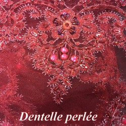 Dentelle Perlée Au Mètre Bordeaux En Grande Largeur, Pour Robes Du Soir, Bustier, Et Lingerie De Luxe.
