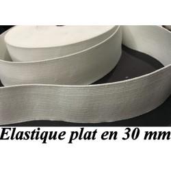Elastique Plat Au Mètre en 30 mm Blanc Pour La Couture